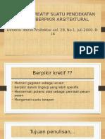 Berpikir Kreatif Suatu Pendekatan Menuju Berpikir Arsitektural m