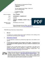 March 2017 Full Council Agenda
