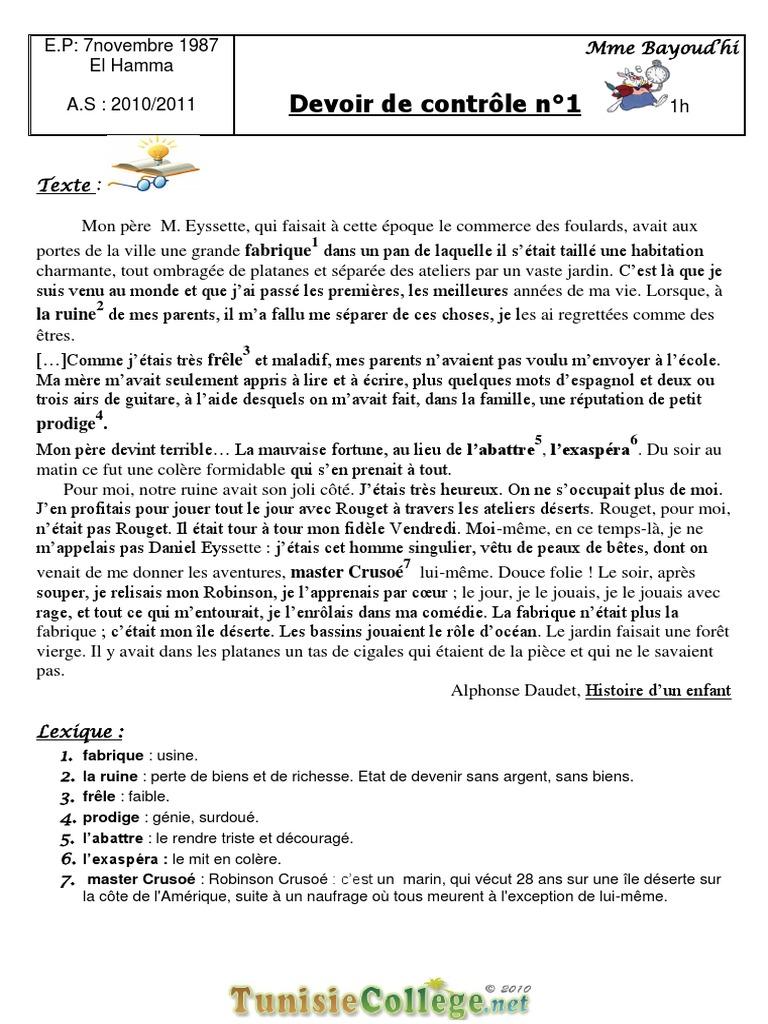 devoir 9eme francais