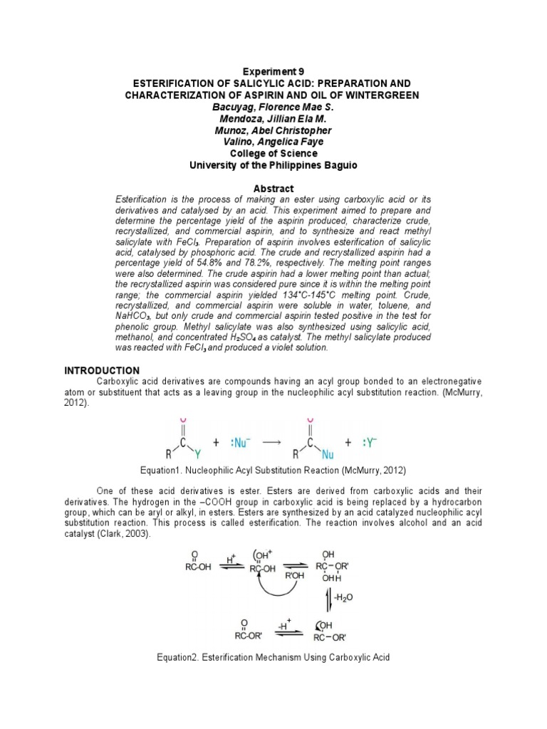 Experiment 9 Final | Ester | Aspirin
