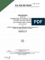 SENATE HEARING, 106TH CONGRESS - FISCAL YEAR 2001 BUDGET