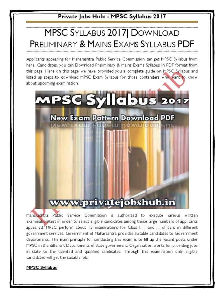 Mpsc Syllabus 2016 Pdf