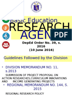 Basic Education Research Agenda