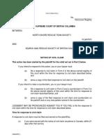 Notice of Civil Claim – North Shore Rescue