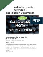 Cómo Calcular Tu Nota de Selectividad