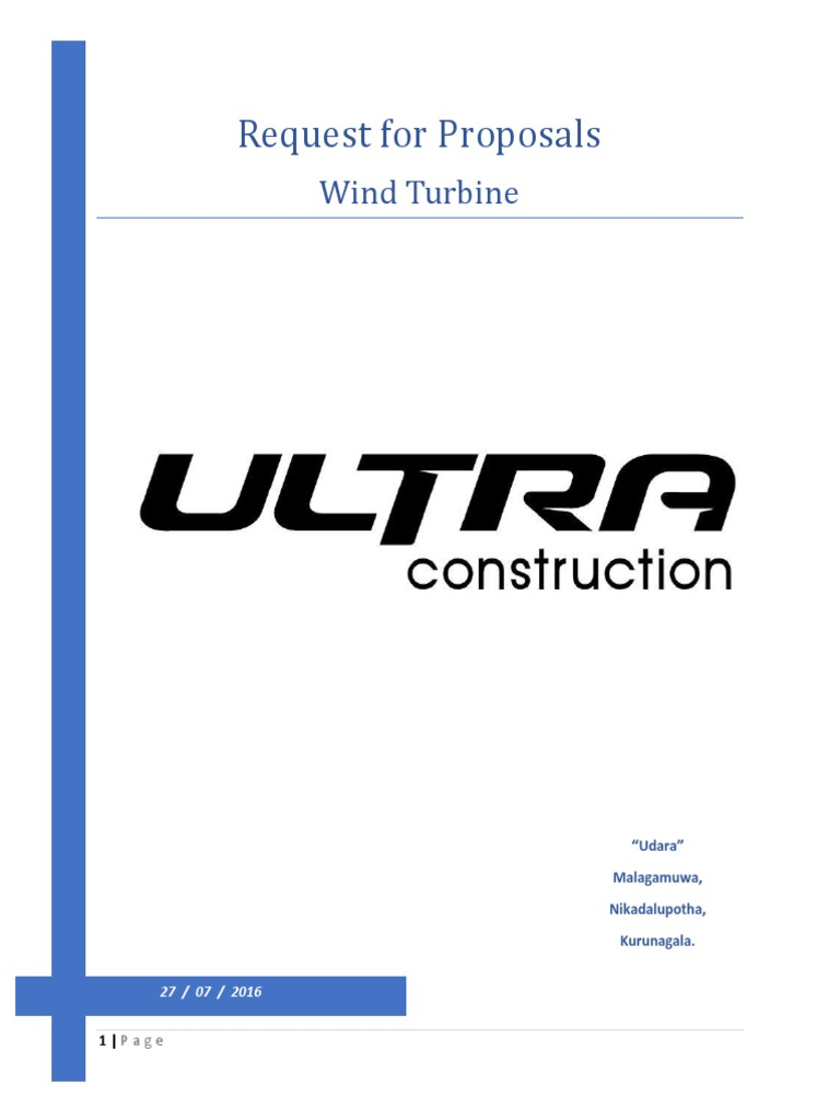 Request for Proposals (RFP) | Wind Power | Request For Proposal