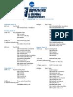 Schedule - 2017 NCAA DI Women's Swimming & Diving Championships