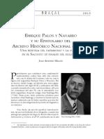 Enrique Palos y Navarro y su Epistolario del Archivo Histórico Nacional (1785-1804)