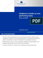 ECB Key Content of the Guidance to Banks on Non Performing Loans September 2016
