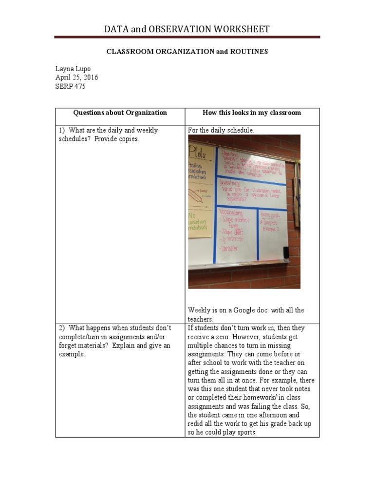 Classroom Organization And Routines Benchmark Classroom Homework