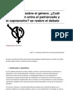 Reflexiones sobre el género. ¿Cuál es la relación entre el patriarcado y el capitalismo? se reabre el debate