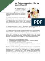 Fundamentos Psicopedagogicos en La Educación Musical Infantil