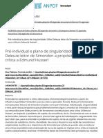 ANPOF - Pré-individual e plano de singularidade_ Gilles Deleuze leitor de Simondon a propósito de uma crítica a Edmund Husserl - AGENDA - Agenda - XVI Encontro Nacional da ANPOF