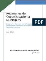 Regimenes de Coparticipacion a Municipios Version Final