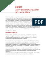 Ciudadanía y Democratización de La Palabra Curso capacitacion docente de ICCE FASTA