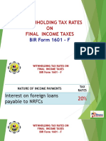 Withholding Tax Rates on Final Income Tax