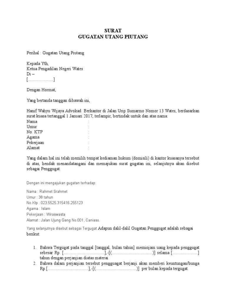 Contoh Surat Gugatan Utang Piutang Yang Resmi Baik Benar Format Word Doc