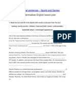 Conditional Sentences - 2nd and 3rd English Lesson Plan B1 - Sports and Games