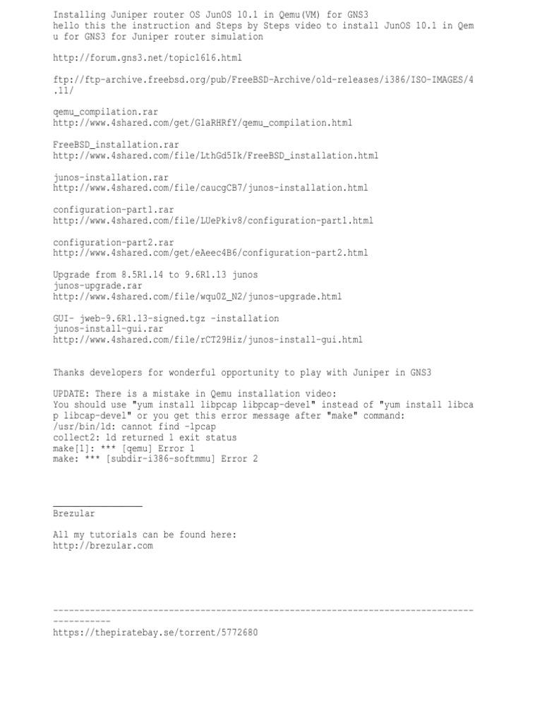 Installing Juniper Router OS JunOS 10 1 in Qemu(VM) for GNS3