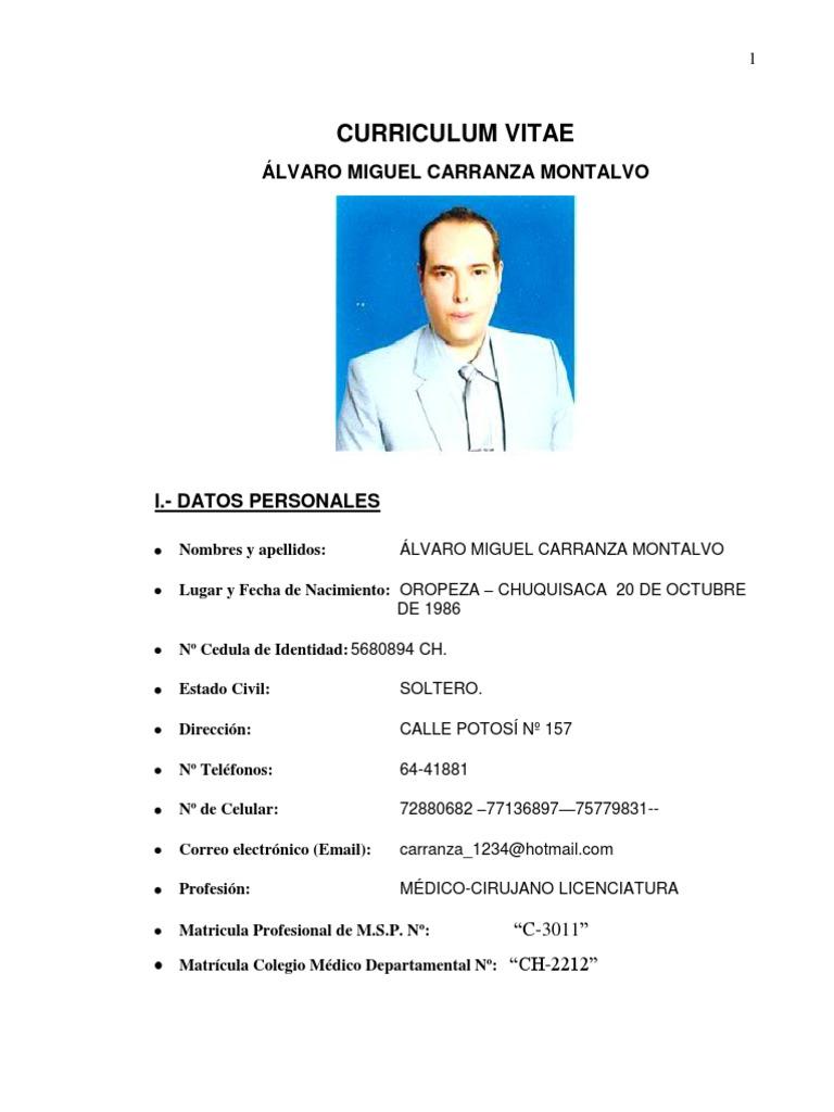 Curriculum Vitae Hoja De Vida Medicina Especializada Medic Doc