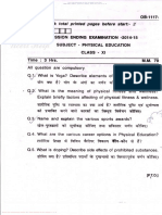 Physical Education Question Paper 2015
