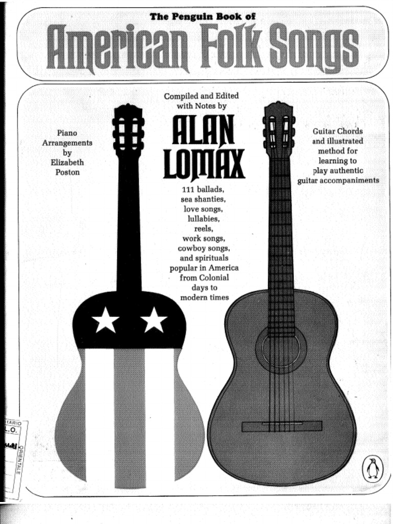 Alan Lomax Penguin Book Of American Folk Songs1 For Guitar