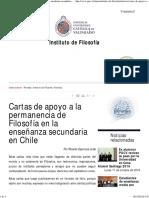 Cartas de Apoyo a La Permanencia de Filosofía en La Enseñanza Secundaria en Chile