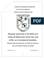 Reacción social ante el VIH-SIDA en el Centro de Reinserción Social