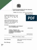 Ruling on injunction against Justin Brake