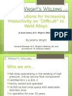 Increasing Productivity on Difficult to Weld Alloys Distribute Version