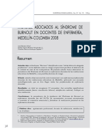 Factores Asociados Al Sindrome de Burnout en Docentes de Enfermeria Medellin
