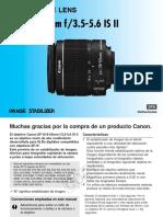 Manual Canon EF-S 18-55mm f3.5-5.6 is II (Español)