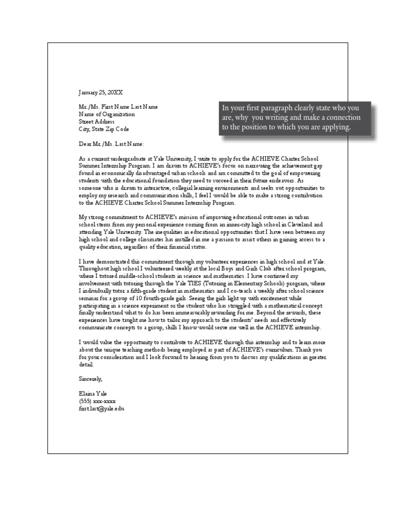 yale college student recent graduate cover letter pdf