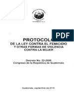 PROTOCOLO de La Ley Contra El Femicidio y Otras Formas de Violencia Contra La Mujer