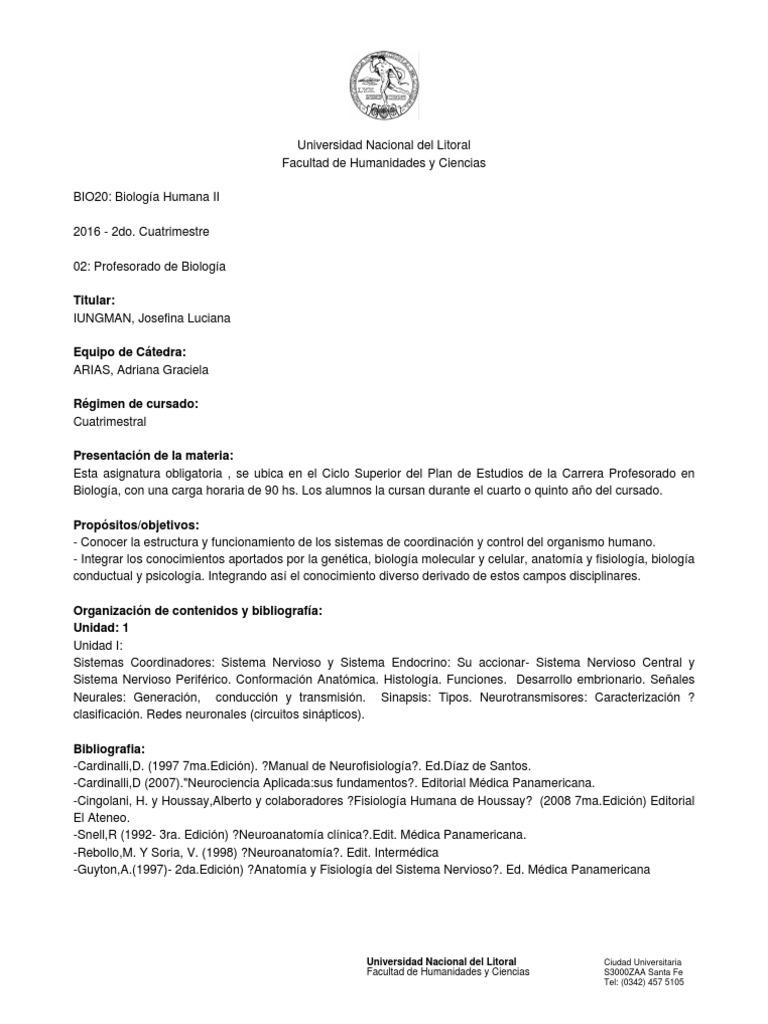 BIO20 - Biología Humana II - 2016 - 2do. Cuatrimestre. Cuatrimestre