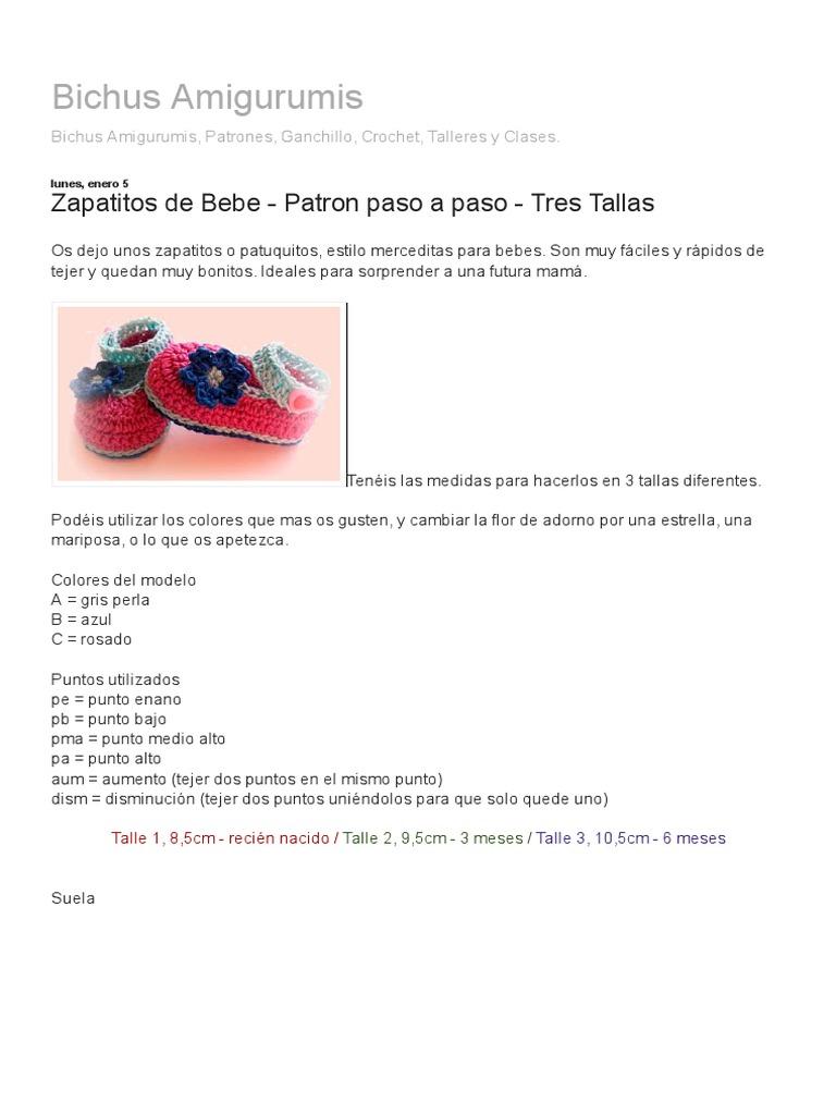 Bichus Amigurumis_ Zapatitos de Bebe - Patron Paso a Paso - Tres Tallas