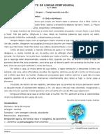 Teste de Língua Portuguesa - 6.º