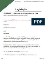 Lei 7400:88 | Lei nº 7400 de 25 de janeiro de 1988 (Lei de edificações)