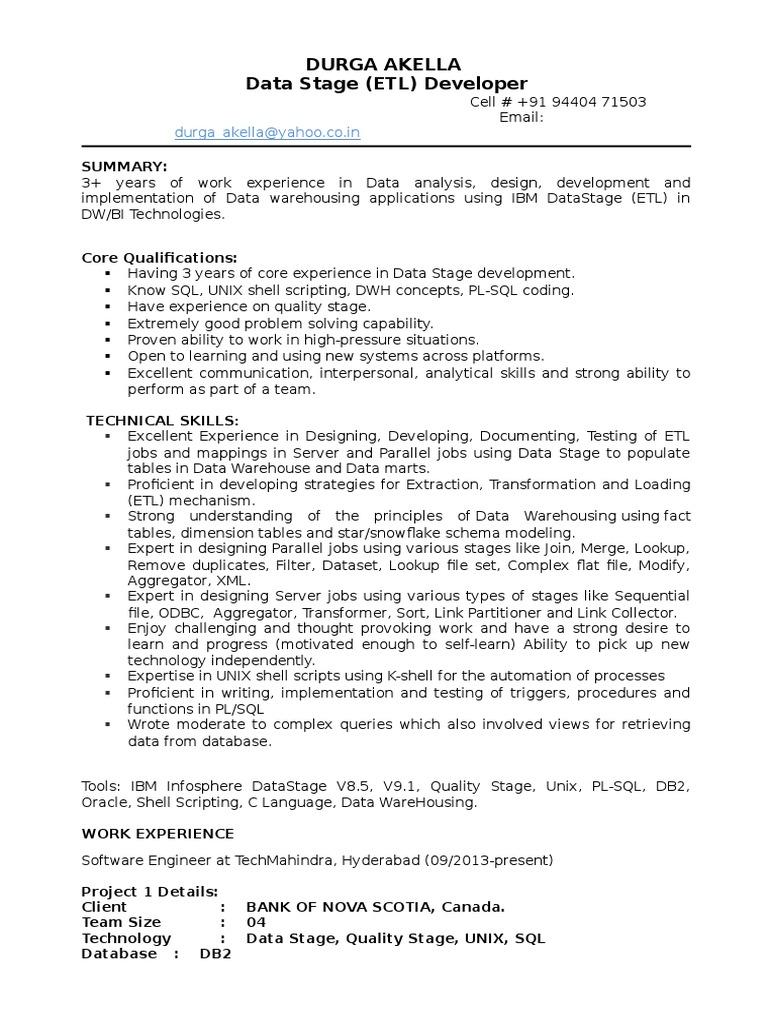 amazing datastage developer resume pdf contemporary entry level - Etl Developer Resume