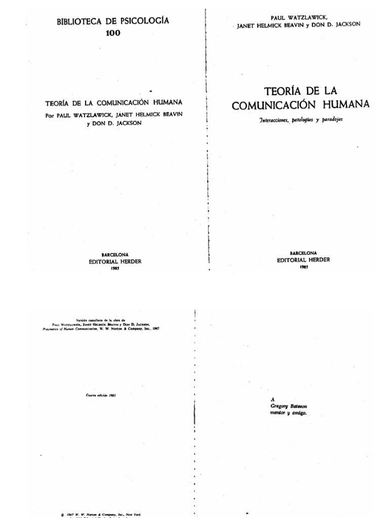 Watzlawick Paul Teoria De La Comunicacion Humana