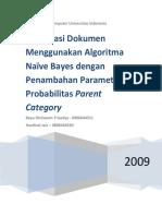 Klasifikasi Dokumen Menggunakan Algoritma Naive Bayes Dengan Penambahan Parameter Probabilitas Parent