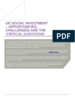 UK Social Investment - Opportunities, Challenges, And Critical Questions