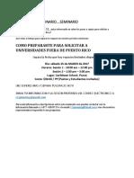 Seminario Como Prepararte Para Solicitar a Universidades Fuera de Puerto Rico
