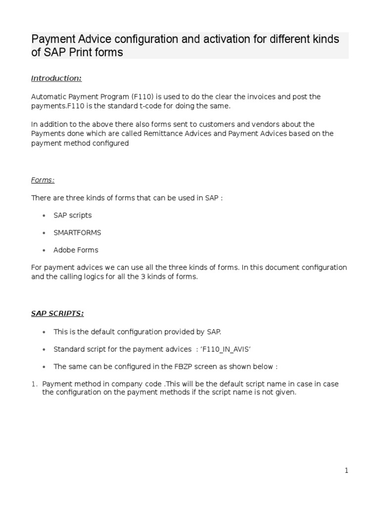 Payment Advice Configuration and Activation for Different Kinds of