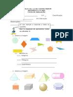 1º Teste 2º Período Sólidos geométrico + areas + perimetros + multiplicação