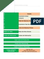 Planilla de Excel de Costo de Produccion