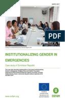 Institutionalizing Gender in Emergencies: Case study of Dominican Republic