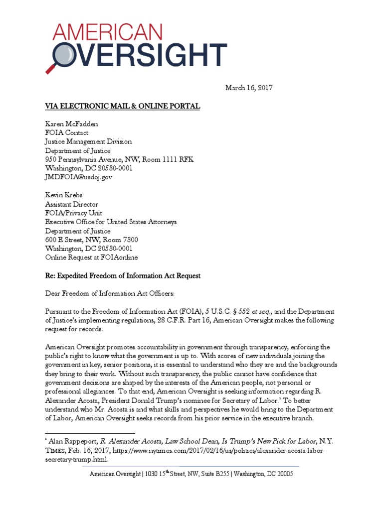 March 16, 2017 - American Oversight FOIA Request to DOJ (DOJ
