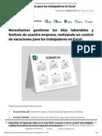 Control de Vacaciones Para Los Trabajadores en Excel – Trucos y Cursos de Excel