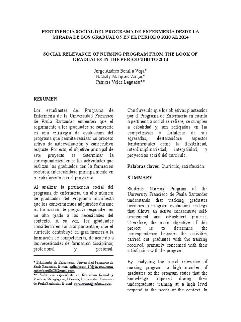 Articulo Pertinencia Social del Programa de Enfermería